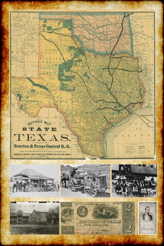 Texas Vintage Photo (1876 REPUBLIC OF TEXAS MAP with VINTAGE PICTURES poster 24X36 HISTORIC)