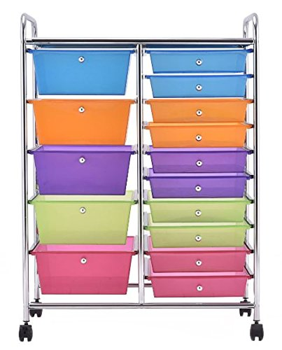 K&A Company Cart Rolling Storage Organizer Drawer Office School Scrapbook Drawers Paper Home Plastic Cabinet Utility 15 Drawers Silver by K&A Company