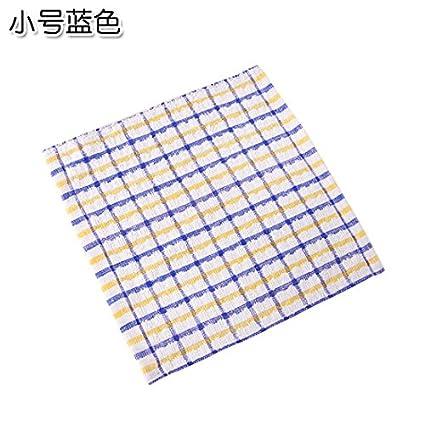 UWSZZ Plaid toalla algodón toalla de cocina pelusa plato aceite toallas toalla absorbente azul pequeño paño