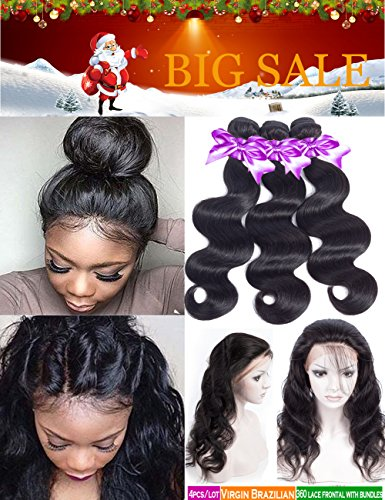 Pre Plucked 360 Lace Frontal With Bundle Brazilian Body Wave Lace Frontal Closure with Baby Hair 8A Brazilian Unprocessed Human Hair Natural Color (14 16 18 with12'' 360 Frontal Closure) by Snow hair