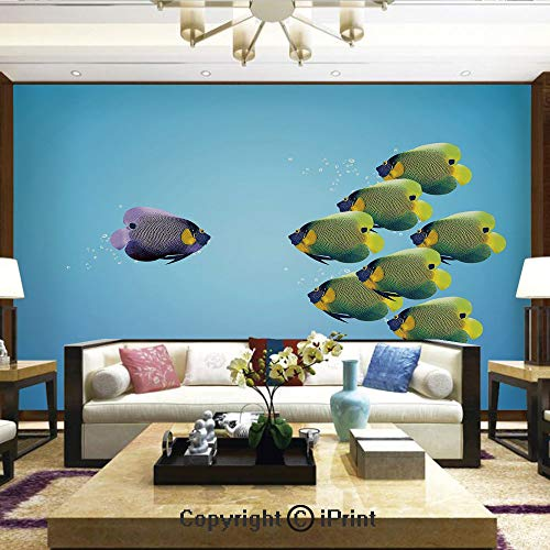 Lionpapa_mural Wall Mural Showing All They Beauty Extremely Detailed Image, Purple Angelfish Leading The Yellow Group Be Different Inspirational Decorative,Home Decor - 100x144 inches - Angels Cut Wallpaper Out