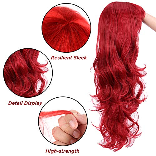 3 otters 28inch Red Wig Long Curly Hair, Red Cosplay Wig For Women, With Wig Cap and Comb