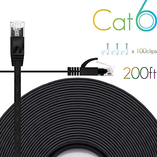 Price comparison product image Ethernet Cable Cat6 200 Ft Flat with Cable Clips, comtelek cat 6 Ethernet Rj45 Patch Cable, slim Network Cable, thin internet computer Cable - 200 Feet Black(60 Meters)