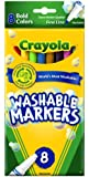 Crayola 8 Count Washable Markers Bold Colors Fine Tip