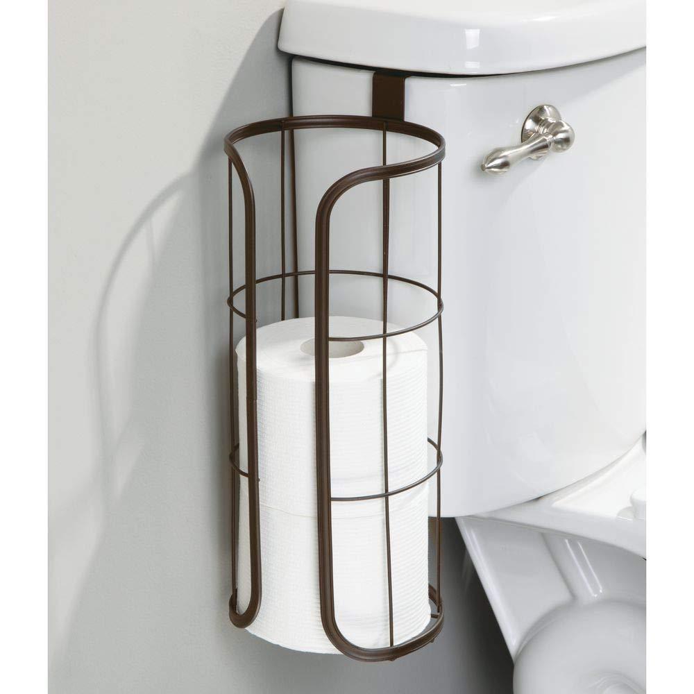 color bronce mDesign Porta rollos de repuesto para colocar sobre la cisterna Soporte para papel higi/énico redondo para 3 rollos Portarrollos para ba/ño de metal sin taladro