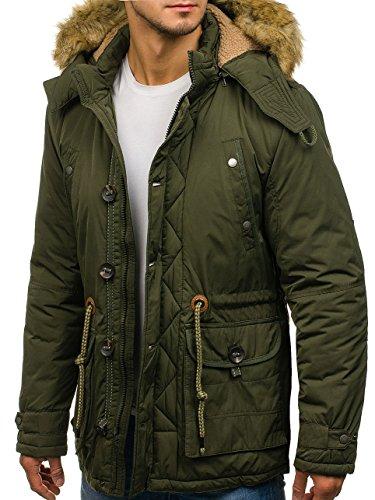Winter Casual Green Men's 1021 Mix Zip Jacket 4D4 Furry Parka BOLF Hood q5IWwvRTR