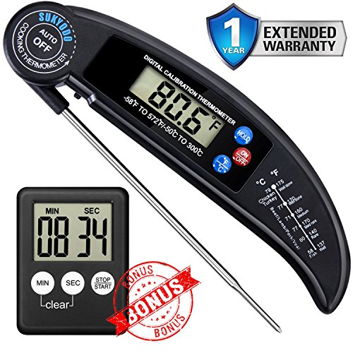 Sukyodo Digital Food Meat Thermometer – Instant Read, Folding Long Probe – Digital Kitchen Cooking Thermometer for Grilling BBQ Smoker with A Free Digital Kitchen Timer