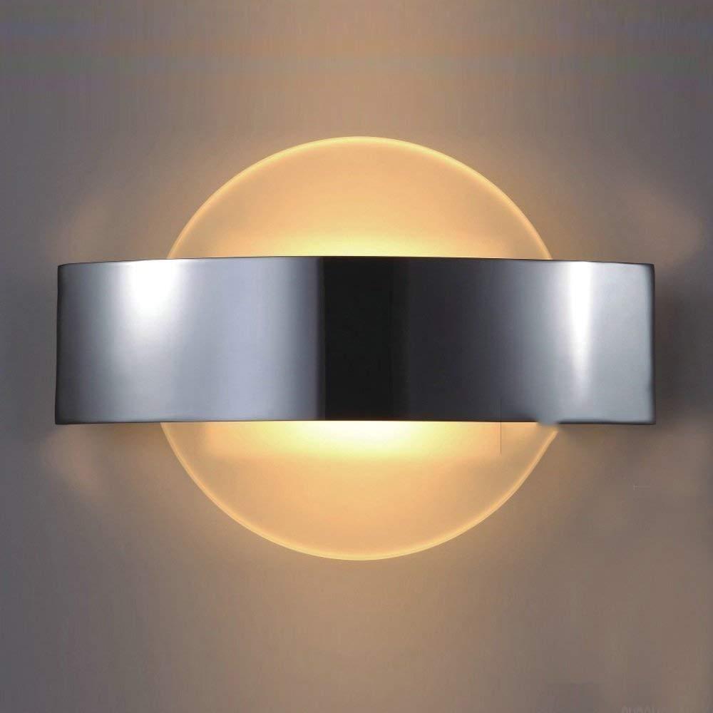 FuweiEncore Edelstahl-Wandlampe-Schlafzimmer-Wand-Lampen-Moderne Art und weiße Persönlichkeit führte Studie (Art  Zyklus) (Farbe   Round)