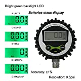 Digital Gas Pressure Gauge with 1/4 NPT Bottom Connector and Rubber Protecter by Uharbour,0-200psi,Accuracy 1% .F.S.