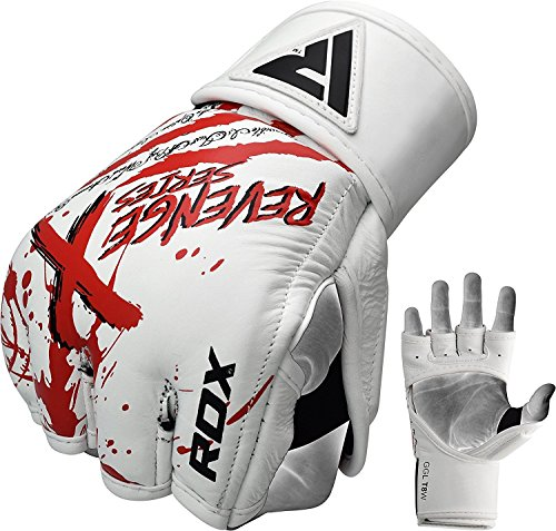 (RDX Cow Hide Leather MMA Grappling Gloves Cage UFC Fighting Sparring Glove Training F1W,Red,Small)