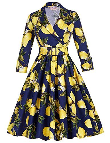 Classy Women's Knee-Length Cotton Floral Retro Themed Party Dresses L (60s Themed Outfits)