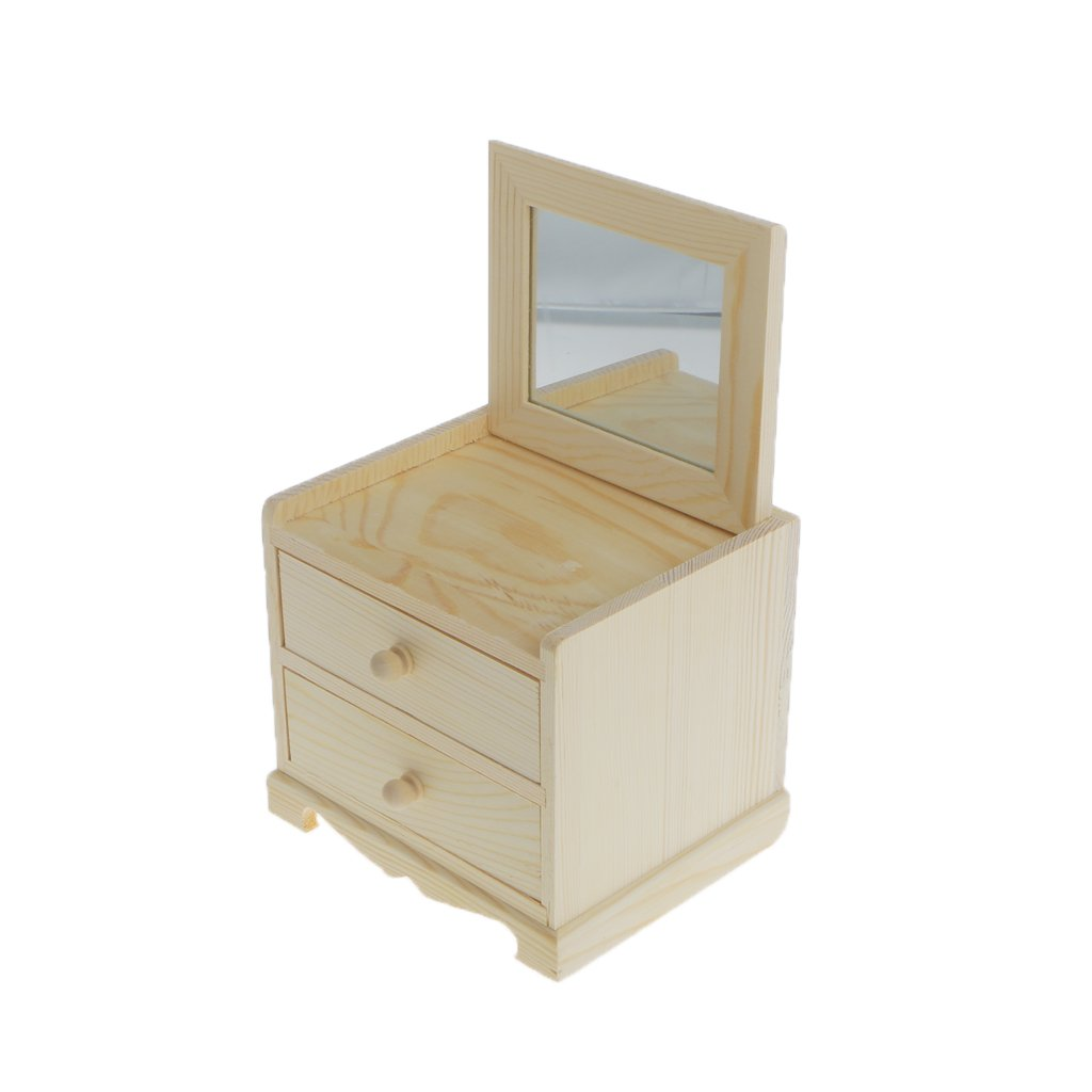 Dovewill Natural Unfinished Wooden Jewelry Box Small 2 Drawers Chest Case Glass Mirror