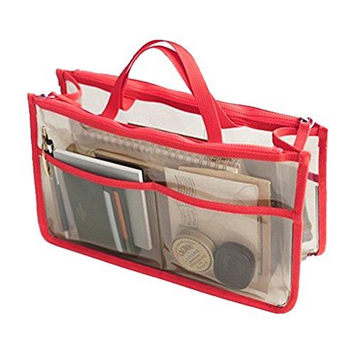 rojo Coméstico Impermeable Transparente Bolsa THEE Viaje de de Organizador qHgZFwxR
