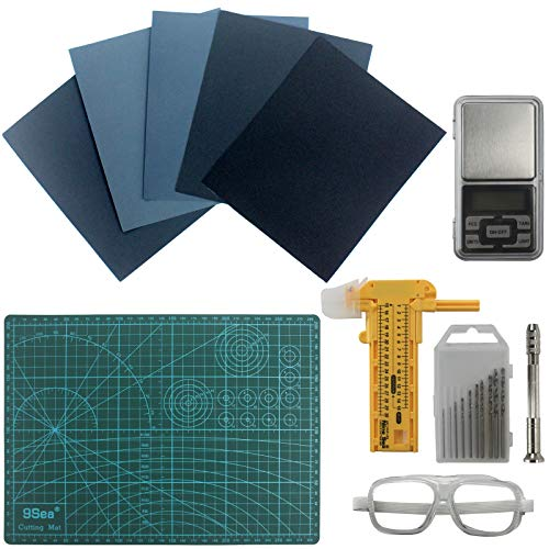 Funshowcase Resin Casting Kit Reusable Set Include Electronic Scale, Hand Drill, Safety Eye Glasses, Sandpapers, Tweezers, Circle Cutter, Cutting Mat 12-Piece