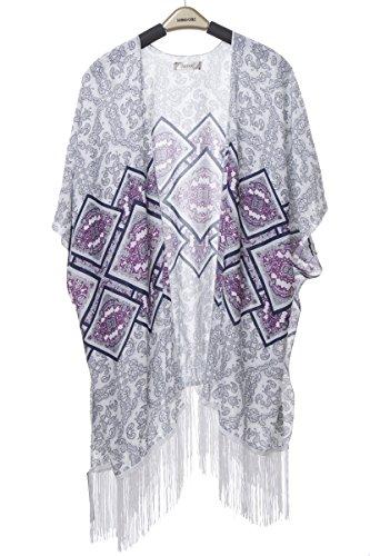 (BYOS Womens Fashion Lightweight Printed Open Front Kimono Cardigan Beach Cover-up Various Patterns (White Paisley W/Diamond Shape Center))