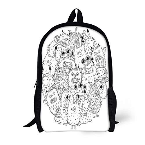 Pinbeam Backpack Travel Daypack Halloween Funny Monsters Circle Shape Pattern for Coloring Waterproof School Bag -
