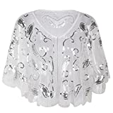 PrettyGuide Women's Evening Cape 1920s Vintage Flapper Cocktail Beaded Shawl White Silver