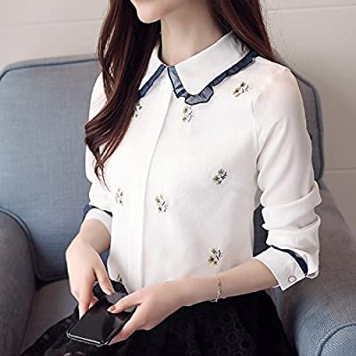 XXIN /Femme Chemises À Manches Longues, Début Du Printemps/Femelle/Neige Chemises/Ouvrir La Chemise /L/ White