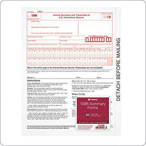 Adams 1096 Summary Transmittal Forms for 2019, 1-Part Inkjet/Laser Compatible Forms, 20 per Pack (TXA1096) (1096 Forms Laser)