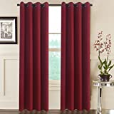 """Aquazolax Premium Solid Thermal Insulated Grommet Top Blackout Curtain Drapes for Kitchen (2 Panels, 52""""x63"""" Inch, Red)"""