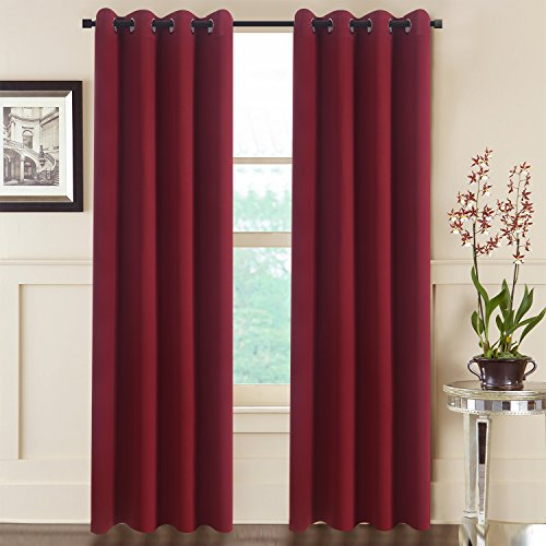 Aquazolax Burgundy Blackout Draperies Curtains for Kitchen Elegant Grommet Thermal Insulated Window Curtains Blackout Drapes, 1 Pair, 54 x 72 Inch, Burgundy Red (For Curtains Sale Bedroom)