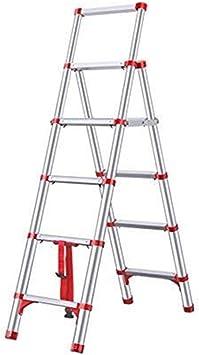 ZGQA de tijera Seis pasos Escalera, Escalera Portátil plegable de aluminio, espiga telescópica Escalera, 330lbs de capacidad de carga / 150kg (Color : Red): Amazon.es: Bricolaje y herramientas