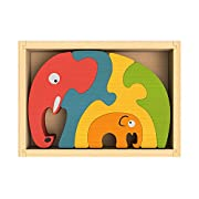 BeginAgain - Elephant Family Puzzle, Help Build Creativity, Imagination and Storytelling Skills, 5 Piece Set (For Kids 2 and Up)