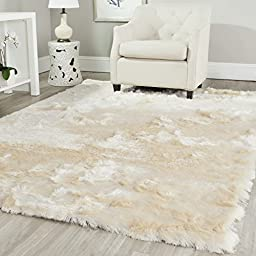 Safavieh Paris Shag Collection SG511-1212 Ivory Polyester Area Rug (3\' x 5\')