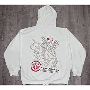 Anime Gundam Double 0 Gn-001 Gundam Exia White Hoodie Sweatshirt Jacket Cosplay Costume, Size of XL
