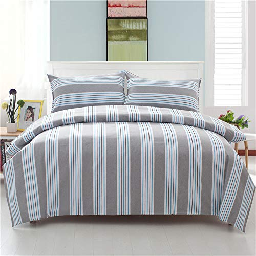 bluee Super King Plain Solid color Reversible Duvet Cover Double Digital Print Quilt Case Bedding Bedroom Daybed Striped Adults Teenagers Quilt Cover 1PCS-Z4-Twin