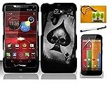 LF Carbon Fiber Designer Hard Case Cover, Stylus Pen, Screen Protector & Wiper For Verizon Motorola Droid Razr M XT907 Razr i XT890 (Designer Spade Skull)