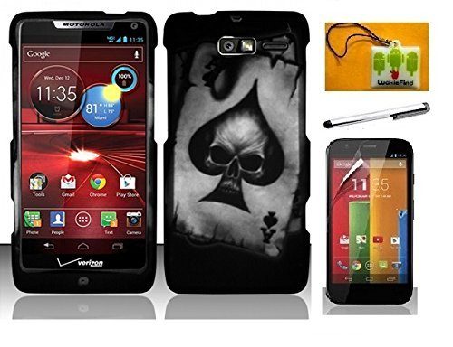 LF Carbon Fiber Designer Hard Case Cover, Stylus Pen, Screen Protector & Wiper For Verizon Motorola Droid Razr M XT907 Razr i XT890 (Designer Spade Skull)