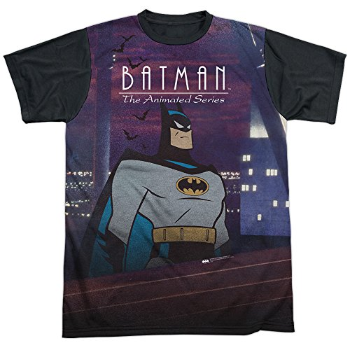 Trevco Men's Batman: The Animated Series Sublimated T-Shirt, Roof White, Small
