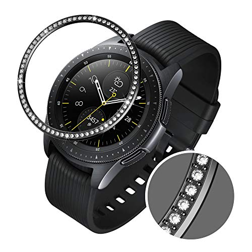- GELISHI Stainless Steel Bling Bezel Ring Compatiable Galaxy Watch 42mm/Gear Sport Bezel Loop Adhesive Cover Anti Scratch & Collision Protector for Galaxy Watch Accessory - Black