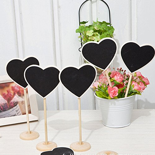 12 Packs Mini Wood Heart Shape Blackboard Chalkboards Signs with Stand Message Board Place Cards Sign for Wedding Party Food Sign Photo Props