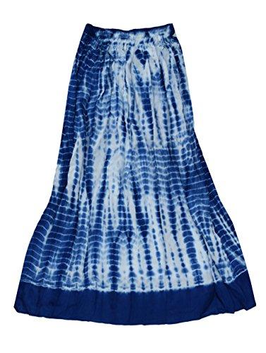 Ayurvastram Viscose Rayon Crinkled Tie n Dye Long Skirt: Royal Blue, XS