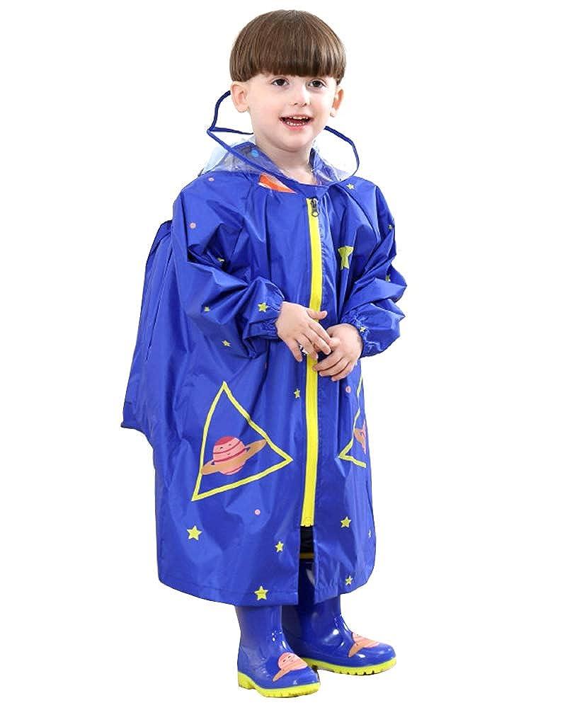 Suncaya Impermeabile Ragazzino Bambina Pioggia con Cappuccio per Bambini Protegge lo Zaino