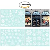 coffee shop window decal - Tinksky Christmas Snowflakes Candy Cane Snowman Decoration Removable PVC Wall Window Door Mural Decal Sticker for Retail Store Coffee House Restaurant Supermarket Dress Shop 3 Sheets 72 Patterns