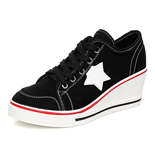 Women's Canvas Wedge Heeled Platform Fashion Sneaker Pump Shoes #3 Black Label 43 - US 10 (Canvas Pump Heels)