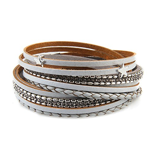 Jenia Women Star Multi-layer Leather Bracelet Braided Wrap Bangle Cuff Alloy Magnetic Clasp (Designer Brooch Black)