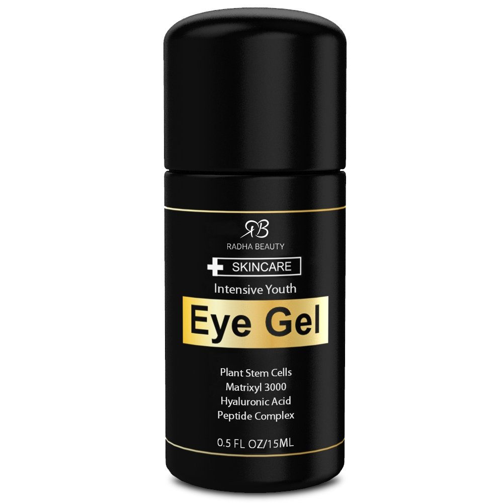 Eye Gel for Dark Circles, Puffiness, Bags & Wrinkles - The most effective eye cream for every eye concern - All Natural - .5 fl oz Radha Beauty
