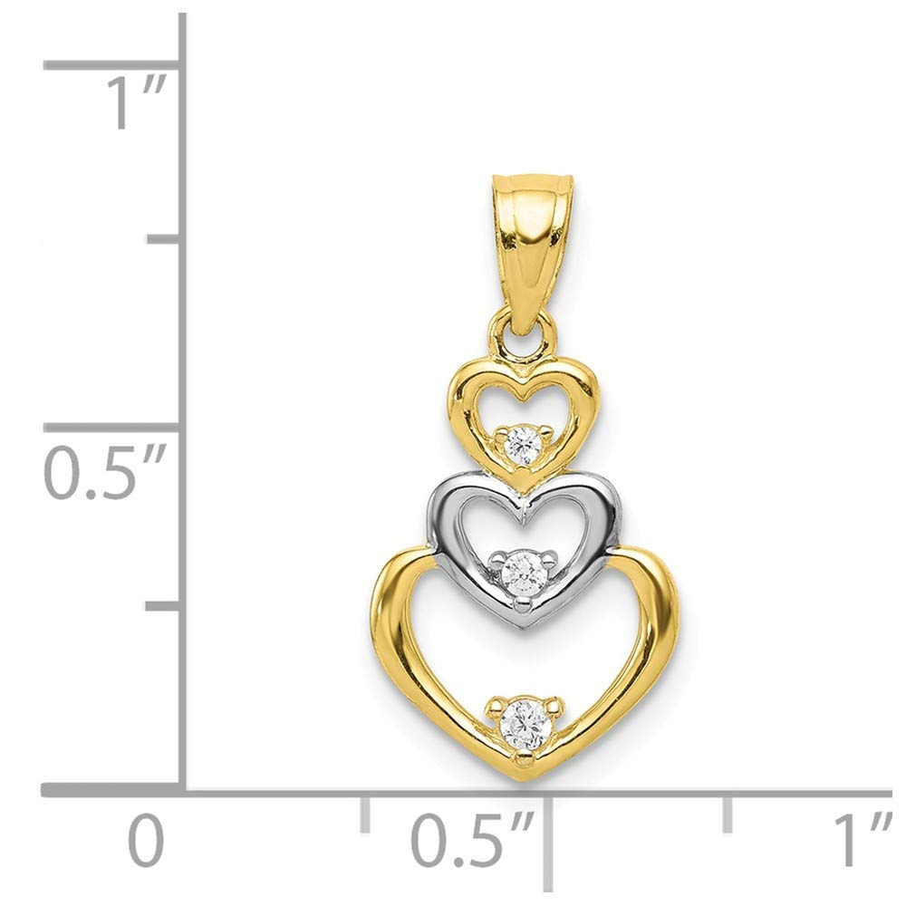 Plated Cubic Zirconia Heart Pendant Mia Diamonds 10k Solid Yellow Gold with Rhodium Plating