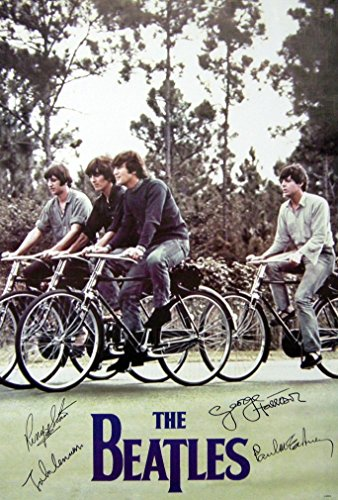 "The Beatles Riding the Bicycles Group Music Photo print poster Size 24""x35"" S-0725 Beatles Photo"