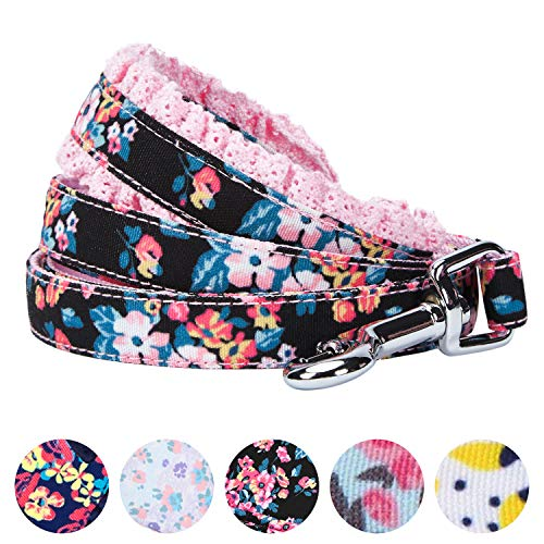 "Blueberry Pet 5 Patterns Durable Spring Made Well Elegant Floral Print Dog Leash with Lace in Sleek Black, 5 ft x 5/8"", Small, Leashes for Dogs"