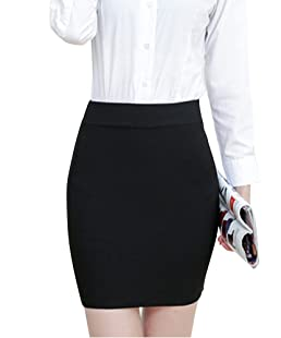 ShiFan Mujeres En Minifalda Alta Cintura Elástica Básica Multifuncional Lapiz Falda Corto Negro 2XL