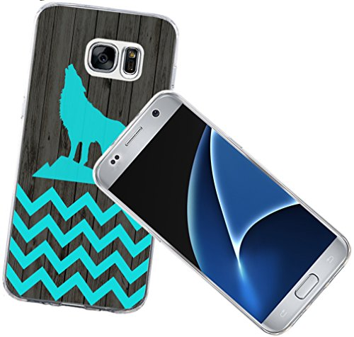 S7 Case - Case for Galaxy S7 - Replacement Cover Compatible with Samsung S7 Animal Blue Chevron Animal Theme Print Designer Fashionable Style (Flexible TPU Protective Silicone)