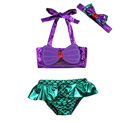 Kid Infant Baby Girls Mermaid Romper Outfit Bodysuit Jumpsuit Swimsuits Princess Bikini Bathing Suit with Tutu Party Dress (6-12Months, Purple+Green) -