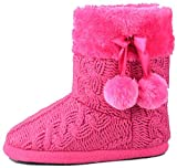 AIREE FAIREE Slippers Womens Indoor Slipper Boots for Ladies Girls with knitted upper and Pom Poms (Medium-US 7-8, Pink)