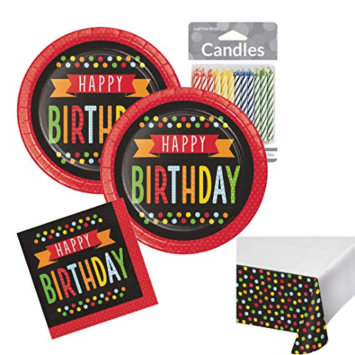 Happy Birthday Plates and Napkin Sets Polka Dot Disposable Tableware Party Supplies -