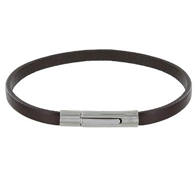 dff0cf6e91c Les Poulettes Bijoux Bracelet Homme Cuir Simple Fermoir Acier Inoxydable -  Marron foncé